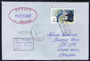 United States used in Funchal (Portugal) 1967 Paquebot cover to England carried on SS Arcadia with various paquebot and ships cachets