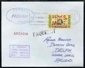 United States used in Dakar (Senegal) 1968 Paquebot cover to England carried on SS Arcadia with various paquebot and ships cachets