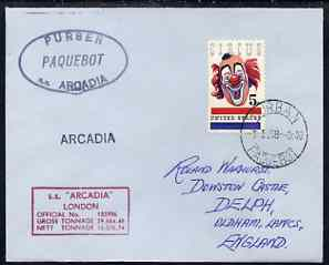 United States used in Durban (South Africa) 1968 Paquebot cover to England carried on SS Arcadia with various paquebot and ships cachets