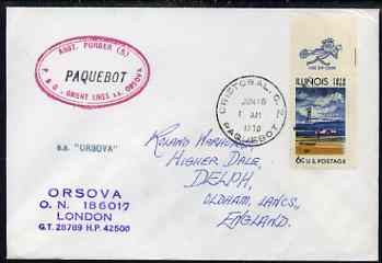United States used in Cristobal (Canal Zone) 1970 Paquebot cover to England carried on SS Orsova with various paquebot and ships cachets