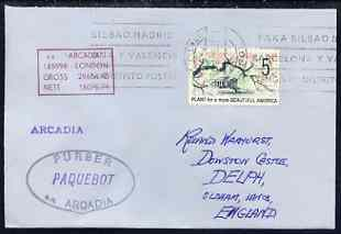 United States used in Las Palmas (Gran Canaria) 1968 Paquebot cover to England carried on SS Arcadia with various paquebot and ships cachets