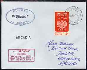 United States used in Cape Town (South Africa) 1967 Paquebot cover to England carried on SS Arcadia with various paquebot and ships cachets