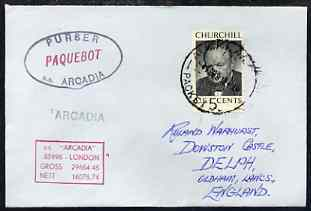 United States used in Auckland (New Zealand) 1968 Paquebot cover to England carried on SS Arcadia with various paquebot and ships cachets