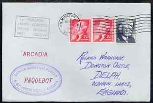 United States used in Wilmington (California) 1968 Paquebot cover to England carried on SS Arcadia with various paquebot and ships cachets
