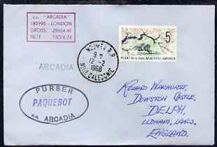 United States used in Noumea (New Caledonia) 1968 Paquebot cover to England carried on SS Arcadia with various paquebot and ships cachets