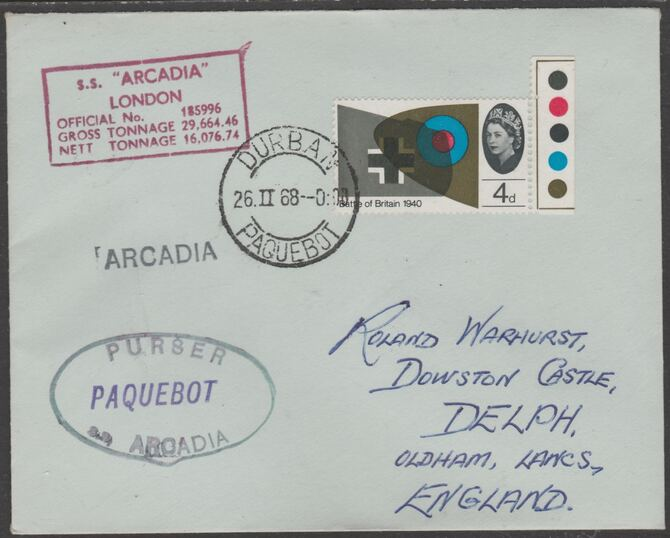 Great Britain used in Durban (South Africa) 1968 Paquebot cover to England carried on SS Arcadia with various paquebot and ships cachets