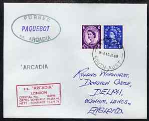Great Britain used in Adelaide (South Australia) 1968 Paquebot cover to England carried on SS Arcadia with various paquebot and ships cachets