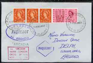 Great Britain used in Sydney (New South Wales) 1968 Paquebot cover to England carried on SS Arcadia with various paquebot and ships cachets