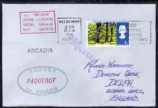 Great Britain used in Melbourne (Victoria) 1968 Paquebot cover to England carried on SS Arcadia with various paquebot and ships cachets