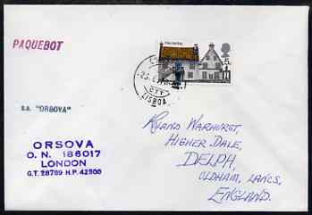 Great Britain used in Lisbon (Portugal) 1970 Paquebot cover to England carried on SS Orsova with various paquebot and ships cachets