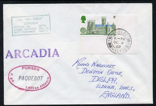 Great Britain used in Malta 1969 Paquebot cover to England carried on SS Arcadia with various paquebot and ships cachets