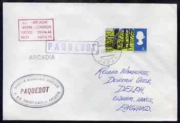 Great Britain used in Kobe (Japan) 1968 Paquebot cover to England carried on SS Arcadia with various paquebot and ships cachets