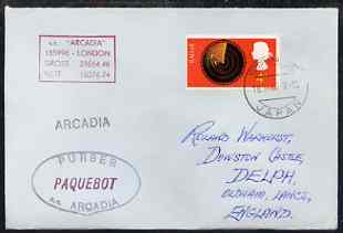 Great Britain used in Yokohama (Japan) 1968 Paquebot cover to England carried on SS Arcadia with various paquebot and ships cachets