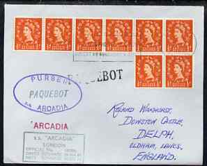 Great Britain used in Dakar (Senegal) 1968 Paquebot cover to England carried on SS Arcadia with various paquebot and ships cachets