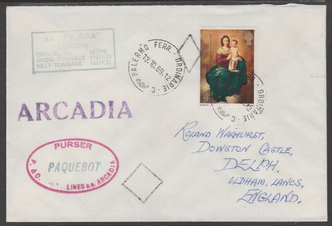 Great Britain used in Palermo (Sicily) 1969 Paquebot cover to England carried on SS Arcadia with various paquebot and ships cachets