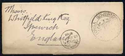 Tonga 1900c Government frank on envelope (folded as a wrapper) pmk'd Nuku'alofa (no year)