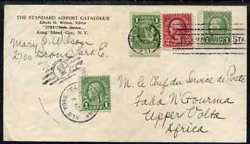 United States 1931 pre-printed env (filing crease) to Upper Volta Africa bearing 1c x 3 & 2c vals all well tied