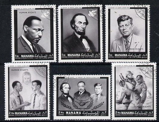 Manama 1968 Human Rights (Kennedy, Lincoln, Martin Luther King, etc) cto set of 6 (Mi 99-104)