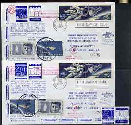 United States 1967 Two Rocket mail Flight covers, Flight XVIII flown by Rockets Nos 1 & 2, each with perf NASA label with error (th Year omitted) plus corrected label, co...