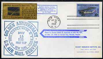 United States 1968 Golden Anniversary Rocket Flight cover with RRI label & special cachet in blue, numbered as one of 1,050