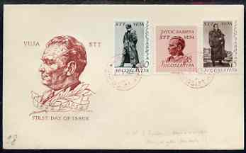 Yugoslavia - Trieste 1952 Marshall Tito 60th Birthday set of 3 on illustrated unaddressed cover with first day cancels