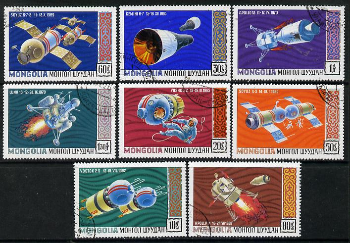 Mongolia 1971 Space Research cto set of 8, SG 594-601*