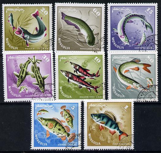 Mongolia 1965 Mongolian Fish cto set of 8, SG 377-84*