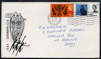 Great Britain 1965 Arts (phos) set of 2 on illustrated cover with first day cancel (hand-written address)