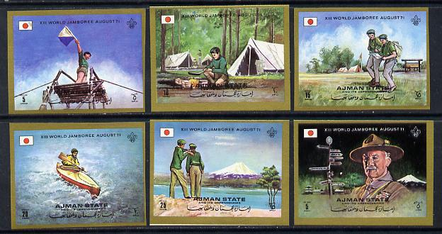 Ajman 1971 Scouts imperf set of 6 unmounted mint, Mi 1047-52B