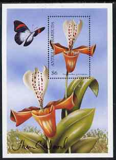 Antigua 2000 (?) Orchids of the World perf m/sheet signed by the designer (Thomas C Wood) unmounted mint