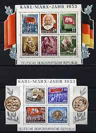 Germany - East 1953 Death Anniversary of Karl Marx set of 2 perf m/sheets mounted with frames cut away for display, SG MS E111a cat \A3300 as full m/sheets