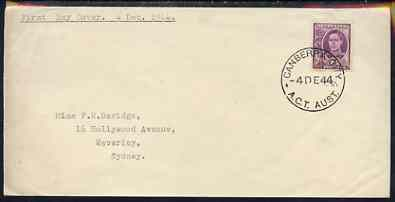 Australia 1944 KG6 2d purple on plain typed addressed cover with clear first day cancel (SG205) stamp has been applied over the cancel and is almost certainly a maunfactu...