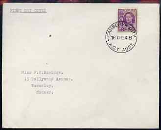 Australia 1948 KG6 2d purple on plain typed addressed cover with clear first day cancel of 16 Dec (Gibbons say 20 Dec) stamp has been applied over the cancel and is almos...