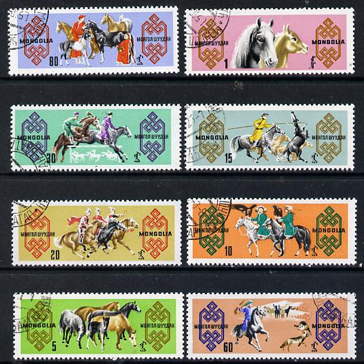 Mongolia 1965 Horses cto set of 8, SG 364-71*