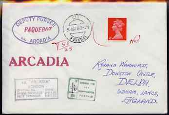 Great Britain used in Funchal (Portugal) 1969 Paquebot cover to England carried on SS Arcadia and bearing Great Britain stamp which has not been accepted, thus a Postage Due h/stamp in green and marked 1s6d to pay, various paquebot and ships cachets