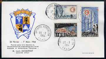 French Southern & Antarctic Territories 1964 Crozet Archipelago 5f (SG 35) & International Year of Quiet Sun set of 2 (SG 36-37) used on illustrated commemorative cover cancelled 23.2.1964 cds