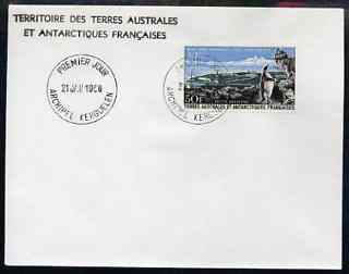 French Southern & Antarctic Territories 1968 Penguin & Port-aux-Francais 50f on cover with first day of issue cancel, stamps on