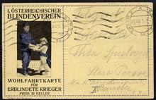 Austria 1915 Charity Braille postcard sent by Military Post