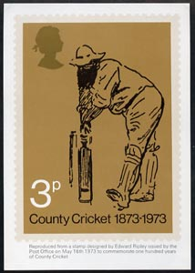 Great Britain 1973 County Cricket PHQ card unused and Post Office fresh cat \A370
