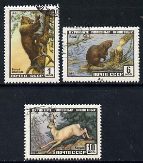 Russia 1961 Wildlife cto set of 3 (Beaver, Deer & Bear) SG 2534-36*