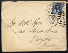 Great Britain 1899 cover to Malta bearing Jubilee 2.5d cancelled Derby duplex, reverse with Malta receiving cds of Dec 23, back & front with