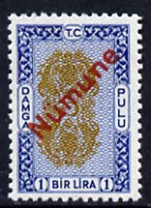 Turkey 1960's 1L Revenue stamp opt'd NUMUNE (Specimen) in red, superb unmounted mint (ex DLR archives)*