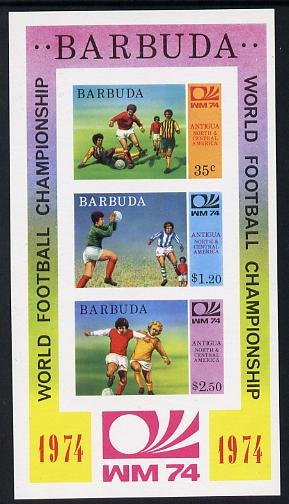 Barbuda 1974 World Cup Football imperf m/sheet (as SG MS 171) unmounted mint