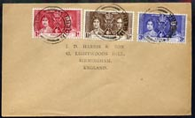 Nigeria 1937 KG6 Coronation set of 3 on cover with first day cancel addressed to the forger, J D Harris.  Harris was imprisoned for 9 months after Robson Lowe exposed him for applying forged first day cancels to Coronation covers (details supplied).