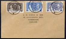 Aden 1937 KG6 Coronation set of 3 on cover with first day cancel addressed to the forger, J D Harris.  Harris was imprisoned for 9 months after Robson Lowe exposed him for applying forged first day cancels to Coronation covers (details supplied).