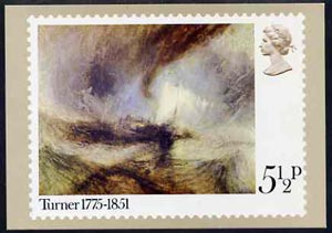 Great Britain 1975 Birth Centenary of Turner 5.5p PHQ card unused and pristine cat \A342