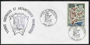 French Southern & Antarctic Territories 1969 Cape Geology Map 200f on cover with first day of issue cancel, SG 56