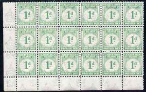 Gilbert & Ellice Islands 1940 KG6 Postage Due 1d emerald unmounted mint corner block of 18, SG D1 cat \A3234