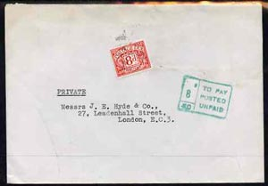 Great Britain 1969 unstamped cover to London with boxed 8d postage due to pay in green with 8d p/due stamp alongside
