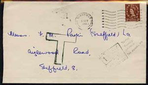 Great Britain 1961 underpaid cover to Sheffield with feint boxed postage due to pay in green and large outlined